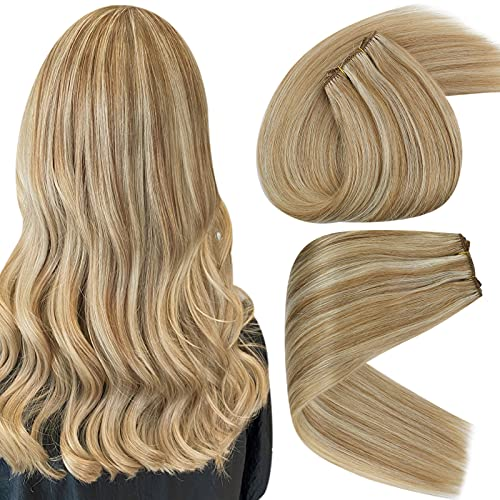 Sunny Weft Hair Extensions Human Hair Strawberry Blonde Remy Hair Sew in Extensions Weave Real Hair Honey Blonde Highlights Bleach Blonde Hair Weft 16inch 100g