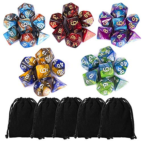 CiaraQ Polyhedral Dice Set (35 Pieces) with Black Pouches, 5 Complete Double-Colors Dice Sets of D4 D6 D8 D10 D% D12 D20 Compatible with Dungeons and Dragons DND RPG MTG Table Games