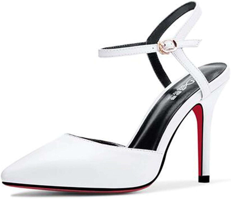 CJC High-Heeled Sandals Baotou High Heels Thin High Heels Sexy (color   White, Size   EU35 UK3)
