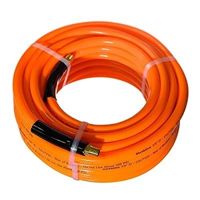 Maxaline Air Hose,Non-Kinking,300 PSI, 1/4Inch MNPT Brass Ends, Lightweight,PVC Compressor Hose Orange