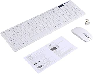 Yoidesu 2.4GHz Wireless Keyboard and Mouse Combo Kit PC Computer Ultra Slim Keyboard with Mice Designed for Office and Home Use(White)