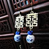 Estilo chino Pendiente Gota Vintage Cuerda Nudo Porcelana Colgante de cuentas Pendiente colgante Doble Felicidad Novia JoyeríaWE-A-27