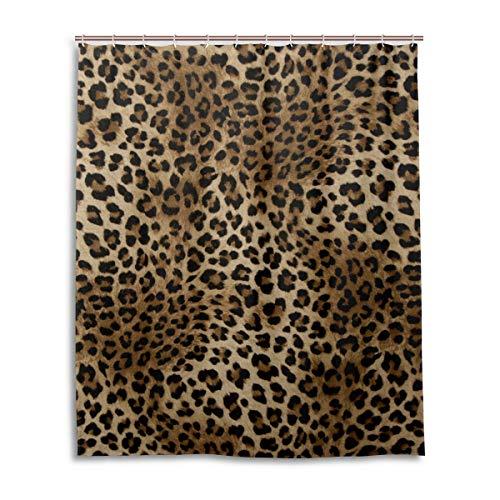 ALARGE Duschvorhang mit Tiermotiv und Leopardenmuster, wasserdicht, Schimmeleffekt, Polyester, mit Haken, 12 Löcher, Dekoration, 152,4 x 182,9 cm