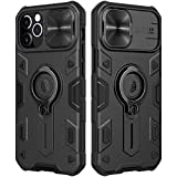 Nillkin CamShield Armor Case Compatible with iPhone 12 Pro/iPhone 12, [Built in Kickstand & Camera Lens Protector] Shockproof Back Bumper Hybrid Cover Phone Case for Phone 12 Pro 6.1'' Space Black