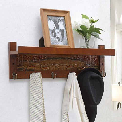 HEWEI wandkapstok met haken van metaal en bovenste plank voor het opbergen in de hal, zakhouder (kleur: notenhout, grootte: 4 haken)