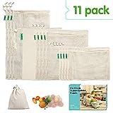 E-Know Sac à Légumes en Coton, Produce Bag Natural Mesh Coton Facile à Nettoyer, Délavage zéro Waste, Longue durée de Vie,...