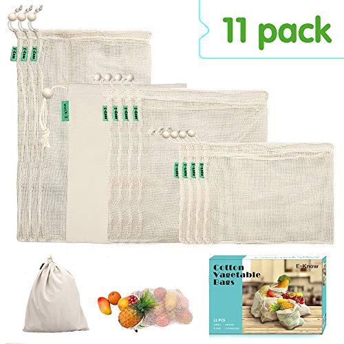 E-Know Bolsas Reutilizables,Juego de 11 Bolsas de algodón, Bolsas Biodegradables Natural Malla Algodón Fácil de Limpiar, Zero de Waste,Ecologicos (3 S, 4 M, 3 L, 1 Bolsa)