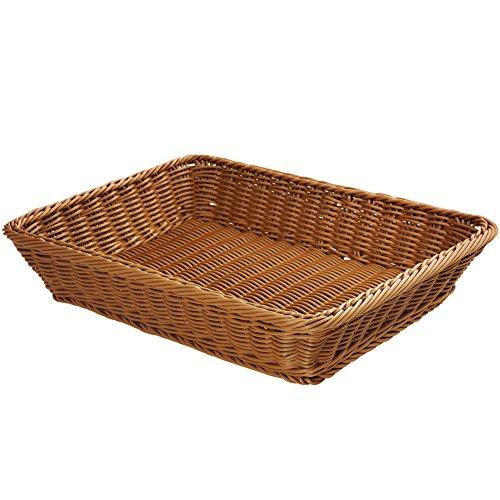 17.7' Poly-Wicker Bread Basket,Woven Tabletop Food Fruit Vegetables Serving Basket, Restaurant Serving,Brown