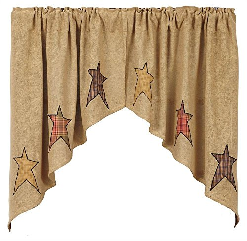 VHC Brands Stratton Burlap Applique Star Swag Set of 2 36x36x16 Country Curtains, Tan