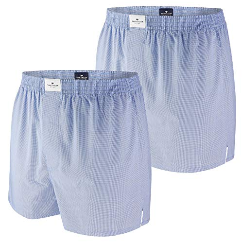 TOM TAILOR, Herren Web-Boxer, 2er Pack, lightblue-XL