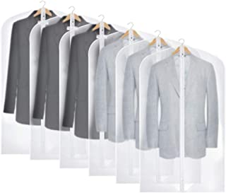 Houzemann Garment Bags Lightweight Thicken Suit Bag Breathable Garment Cover (Set of 6) with Full Zipper for Closet Storage and Travel, peva, Clear, Large