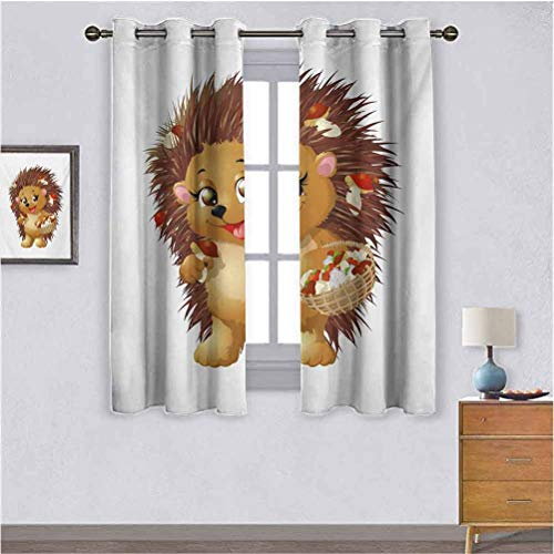 """Hedgehog besthomefashionthermalinsulatedblackoutcurtains Hedgehog Holding Mushroom with a Basket of Autumn Foods Animal Fun Cartoon Suitable forRoom Divider Curtain Screen Partitions W63""""x L72"""""""