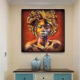 Cuadro Abstracto de Pintura al óleo Africana Mujer escandinava en la Pared Arte Lienzo Carteles e Impresiones Pintura sin Marco 60x60cm