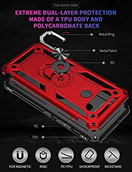 Military Grade Rugged Anti-Scratch Heavy Duty Shockproof 360/°Rotating Ring Kickstand Case Cover Fit for Magnetic Car Mount Purple Leychan for LG K51 case