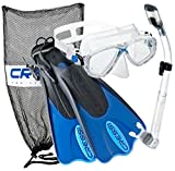 Cressi Palau Mask Fin Snorkel Set with Snorkeling Gear Bag, Blue, L/XL | (Men's 10-13) (Women's 11-14)