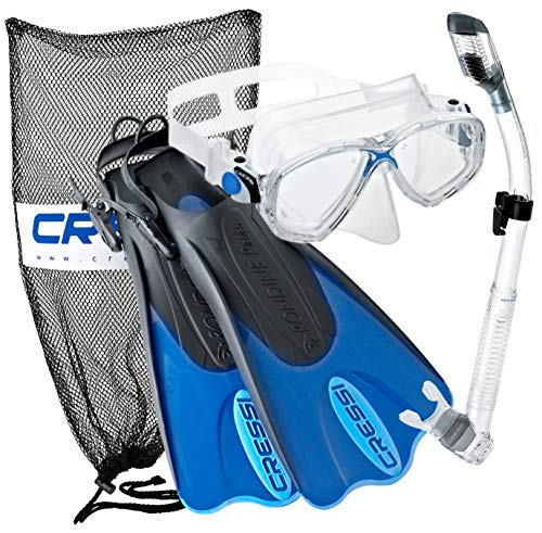 Cressi Palau Mask Fin Snorkel Set with Snorkeling Gear Bag, Blue, M/L | (Men's...