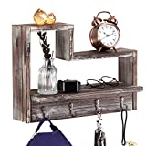 J JACKCUBE DESIGN Entryway Key Holder Rustic Wood Hanging Shelf with 4 Hooks Wall Mount Decorative Leash Hanger Display Wooden Cubby Rack MK537A