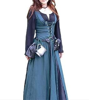 Howely Women 2 Piece Fall Winter Renaissance Middle Ages Maxi Long Dress