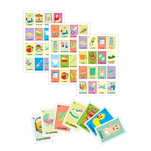 Baby shower Game in Spanish, for 30 players and 54pc deck of cards, quality printing with glossy UV varnish, Practice and Learn Spanish Language. Have fun at Baby shower and sex reveal parties
