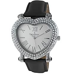 Silver Heart Wrist Watch with Crystal Studded Case & Black Leather Strap