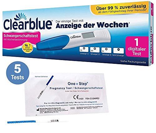 Vorteilspack - 5 x OneStep Frühtests 10 miu/ml + 1 x Schwangerschaftstest Digital mit Wochenbestimmung