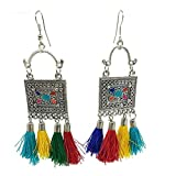 Oxidised base metal to give an antique look, a trendy, modern with the time pendant. Ideal gifting option for girls and women on any occasion Stunning heavy look ethnic designer earrings. light in weight, so is easy to carry for long time Skin friend...