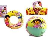 Dora the Explorer Beach Fun Swimming Set Pool Toys - Swim Ring, Arm Floats,beach Ball