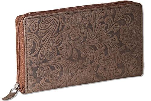 Woodland® Große Damenbörse mit besonders vielen Kreditkartenfächer aus naturbelassenem Büffelleder in Dunkelbraun/Taupe und Blumenmusterprägung, Dunkelbraun