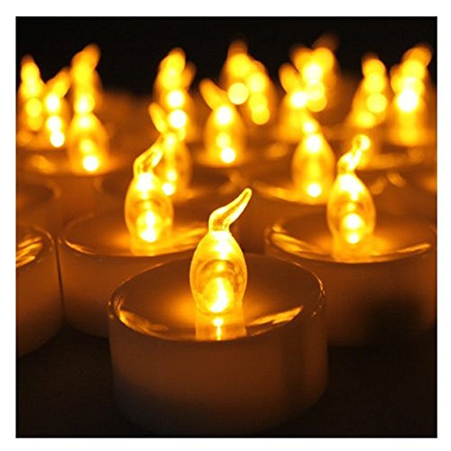 Ice corp ltd - Set di 12 candele decorative con luce a LED, alimentate a batteria, colore: Ambra
