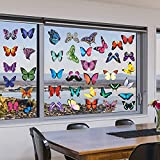HungMieh 44 PCS Window Decals for Birds Strikes, Butterfly Window Clings No-Repeating Designs, Non-Adhesive Static Stickers for Windows Glass Doors to Distract and Deter Birds