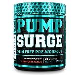 PUMPSURGE Caffeine Free Pump & Nootropic Pre Workout Supplement - Non Stimulant Preworkout Powder & Nitric Oxide Booster - 20 Servings, Raspberry Peach