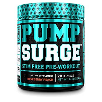 PUMPSURGE Caffeine Free Pump & Nootropic Pre Workout Supplement - Non Stimulant Preworkout Powder & Nitric Oxide Booster - 20 Servings Raspberry Peach