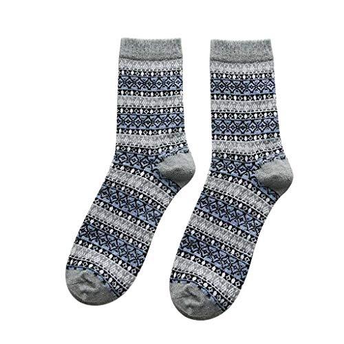 Hffan warme Socken, Vintage Diamant-Jacquard Winter kuschelige Socken, warme antibakterielle Formgebung bunt dick atmungsaktiv - 5 Paar
