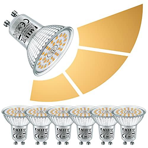 EACLL Bombilla LED GU10 6W Regulable, Atenuación de 3 Niveles, Brillo de 3 Pasos, con Función de Memoria. 2700K Blanco Cálido 575 Lúmenes Lámparas Reflectoras, AC 230V Sin Parpadeo Focos, 6 Pack