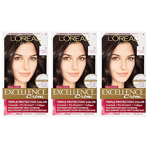 L'Oreal Paris Excellence Creme Permanent Hair Color, 3 Natural Black (Pack of 3)