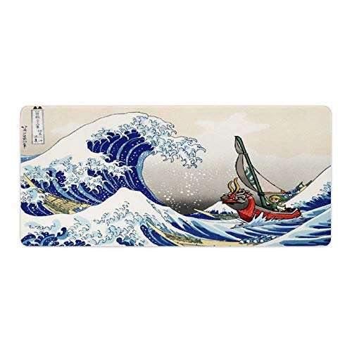 Mouse pad,Link,The Great Wave Off Kanagawa,Legend of Zelda The Wind Waker,Large Gaming Mouse Mat,Desk Mat,Waterproof Anti-Dirty No-Slip Lockrand Mousepad,Perfect for Home Working,90x40cm 35x16 inch