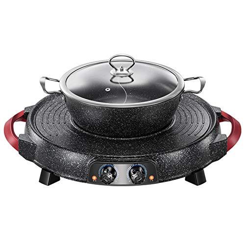 ZCME-power BBQ Grill eléctrico con Olla Caliente 2 en 1 - La...
