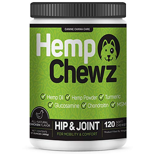 Hemp Chewz Glucosamine for Dogs – Hip and Joint Supplement for Dog Joint Pain Relief – Infused with Organic Hemp Oil + Chondroitin, Turmeric, MSM to Enhance Mobility, Flexibility & Comfort – 120 Chews