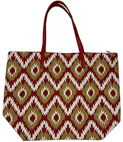 Thomas Calvi Bolsa de playa para mujer, estampado étnico, grande, bolsa de viaje de lona de verano con cremallera, bolsa de compras para damas, color Multicolor, talla Large