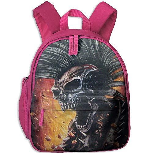 Punk Skull Biker Chopper Funny Kids Bags Boys and Girls School Backpack