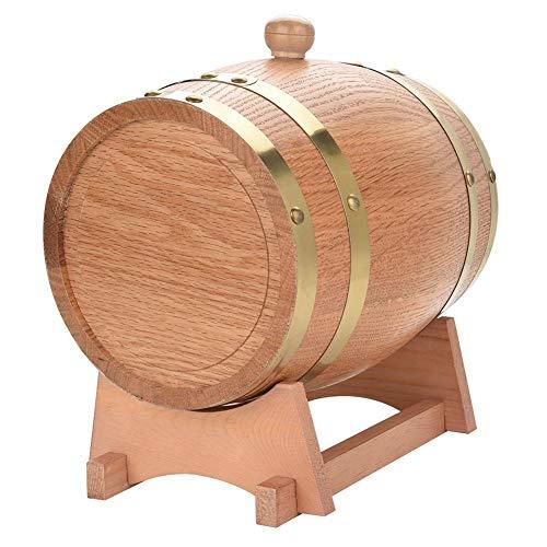 Rehomy Dispensador de barril de vino de madera de roble vintage con soporte de roble para cerveza, whisky, ron, puerto de 3 l