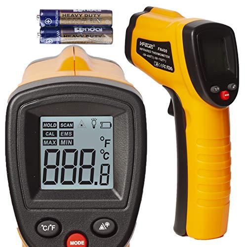 赤外線温度計 クッキング デジタル 温度 ガン セルフ キャリブレーション付き -50?400℃ 非接触 温度 ガン バックライト付き デュアル 放射率 0.8 0.95 (人間 温度用 なし) 最大 最小 測定 レーザーが照射しない 赤い線が出ない 正常