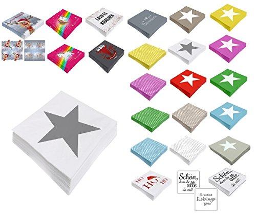 Unbekannt Papier Servietten 3 lagig 33 x 33 cm (20, Weiß Stern)