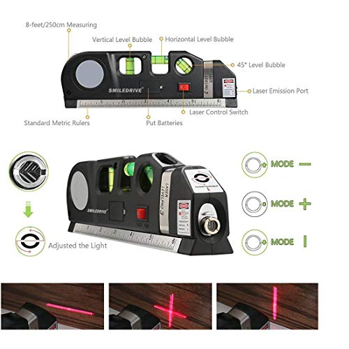 SMILEDRIVE® Pro Laser Beam Level/Levelling device with Bubble Indicator Measuring Tape-Accurately Hang Frames, Mirrors