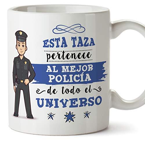 MUGFFINS Policía Tazas Originales de café y Desayuno para Regalar a Trabajadores Profesionales - Esta Taza Pertenece al Mejor Policía del Universo