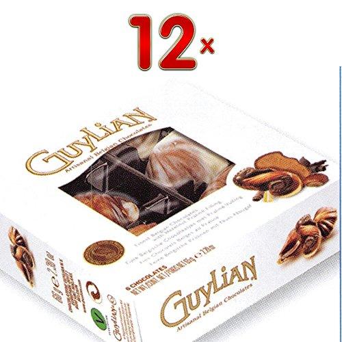 GuyLian Fruits de Mer 12 x 65g Packung (belgische Schokolade in Muschelform mit Nuss-Nougat-Füllung)