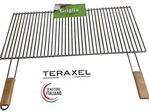 Teraxel Griglia Barbecue Acciaio Inox Grande per Camino Misure 77.5 x 35 Cm con 2 Manici Pesante Graticola Spessore Tondino 6 mm Carne Verdure Formaggio