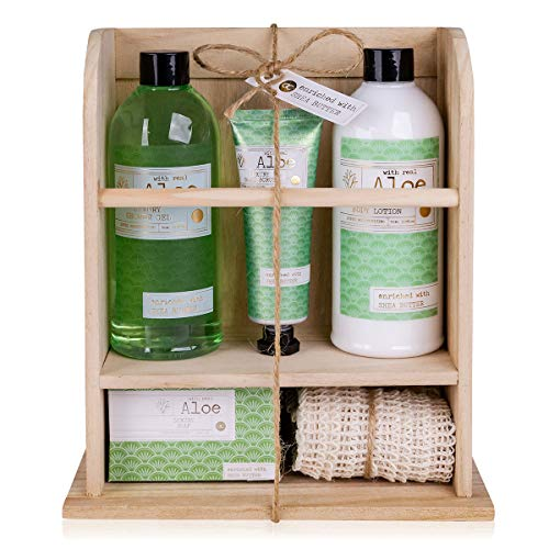 accentra, Premium Collection Aloe Vera Geschenkset für Frauen im Holzregal mit Duschgel Bodylotion Handcreme Badebomben und Sisaltuch – wunderschön und wohltuend, Grün - Natur