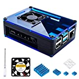 Miuzei Case for Raspberry Pi 4 with 35mm Cooling Fan and 4 pcs Aluminum Heat Sinks for Raspberry Pi 4 Model B (Pi 4 Board Not Included)-Black/Blue