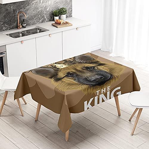 FANSU Mantel Antimanchas Rectangular Efecto Poliéster, 3D Pastor impresión Lavable y Impermeable Mantel para Cocina, Comedor, Exterior, Navidad (Perro Corona,140x180cm)